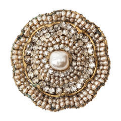 Miriam Haskell Circular Pearl and Rose Monte Brooch