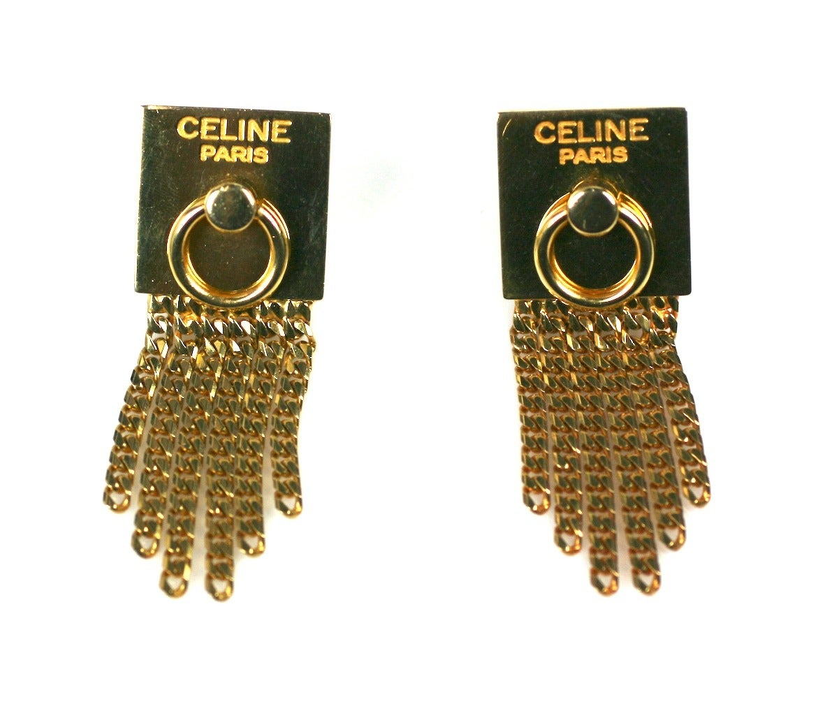Celine Gold Chain Door Knocker Earrings In Excellent Condition For Sale In Riverdale, NY
