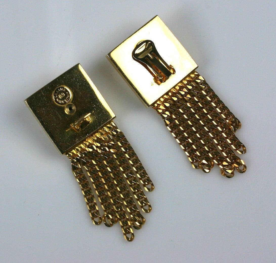 "Cool (and large) Celine Gold Chain Door Knocker Earrings from the late 1980's with curb chain fringe. Imposing scale and beautifully crafted for Celine in Italy. 1989 France.  3"" x 1.25"". France 1989. Excellent condition."