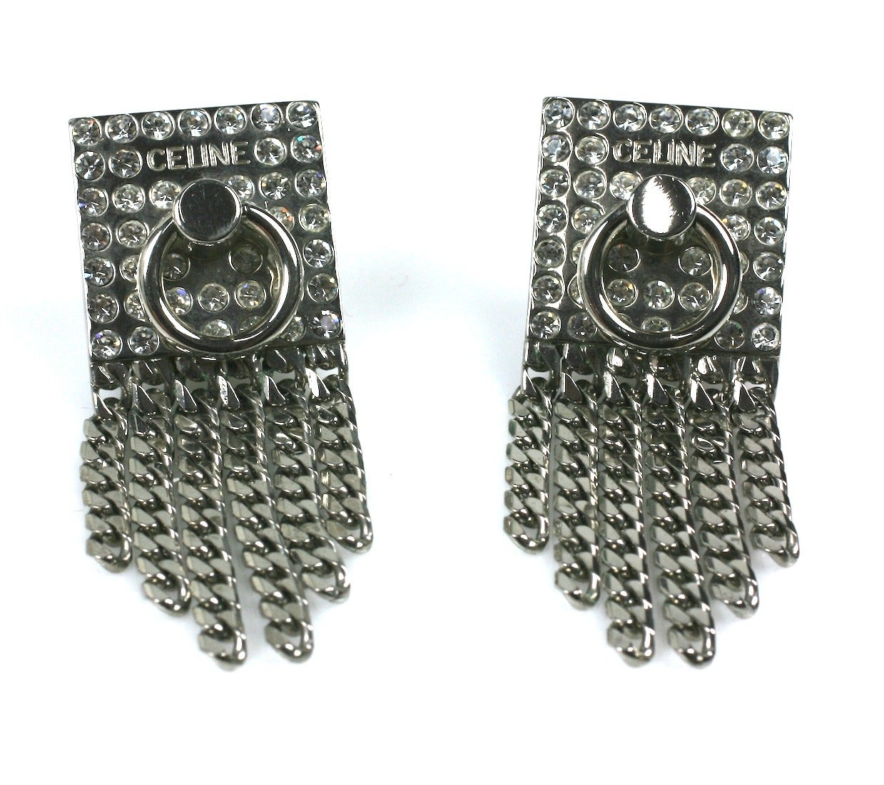 Celine Pave Silver Chain Earrings In Excellent Condition For Sale In Riverdale, NY