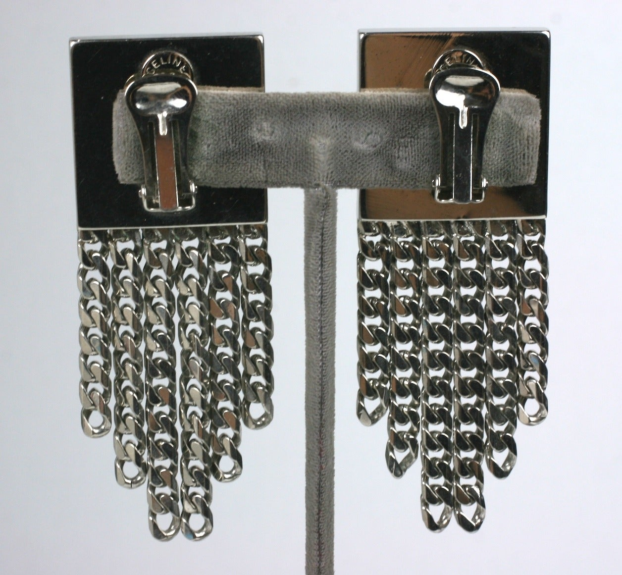 Cool (and large) Celine Silver Chain Door Knocker Earrings with pave rhinestones from the late 1980's with curb chain fringe. Imposing scale and beautifully crafted for Celine in Italy. 1989 France. 3