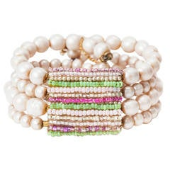 Miriam Haskell Pearl and Pastel Beaded Cuff