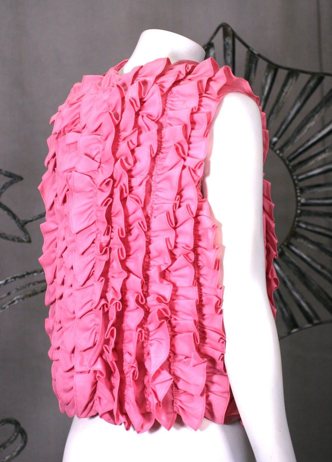 Pink Ruffled Sleeveless Blouse 2