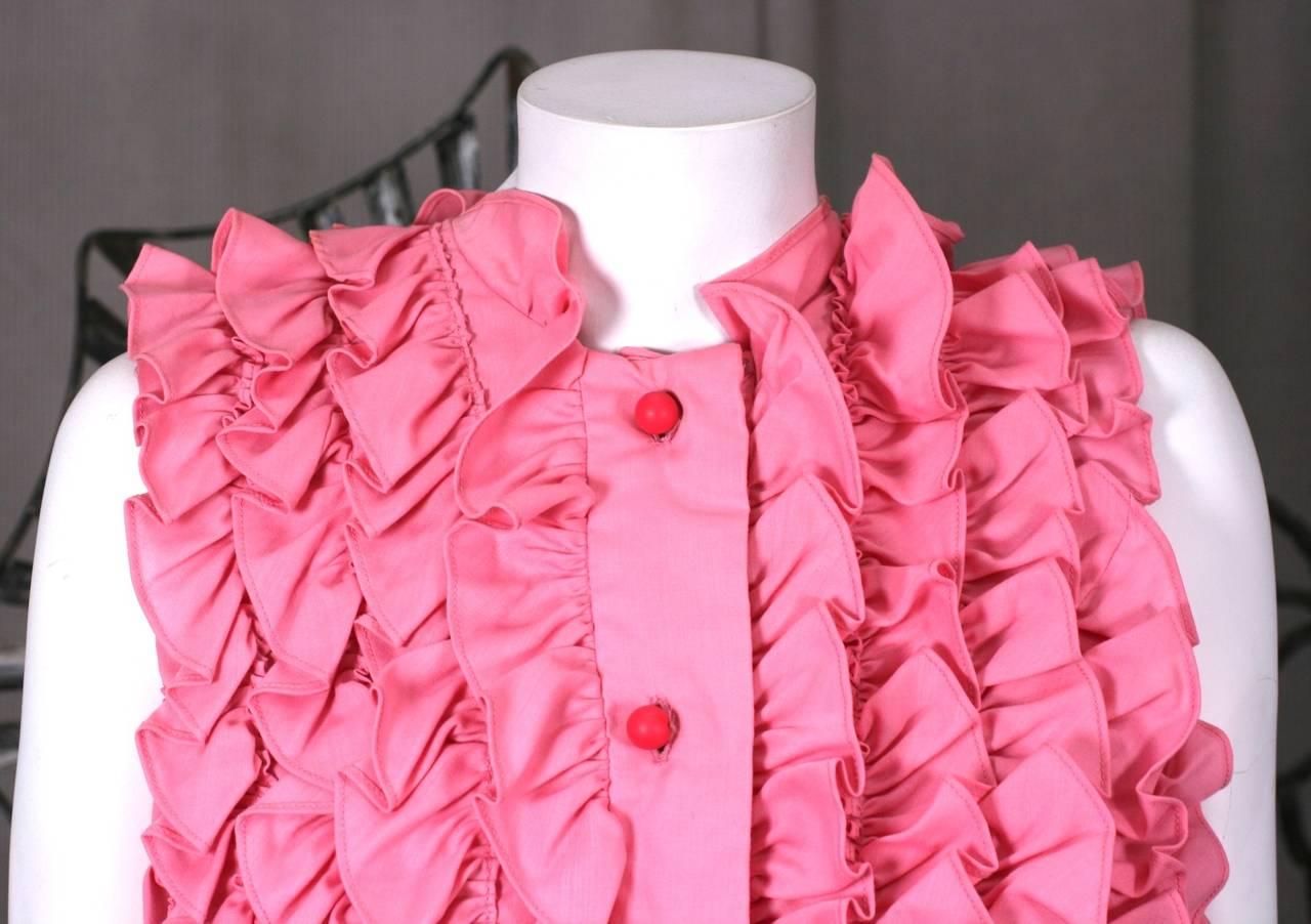 Pink Ruffled Sleeveless Blouse 3