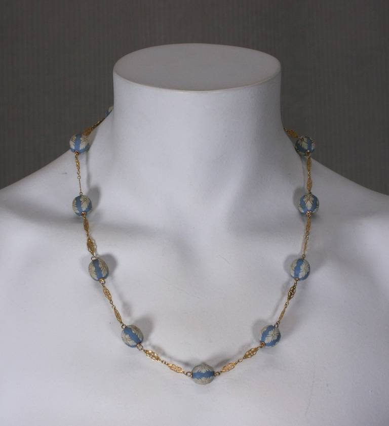 Antique Wedgewood Beads Necklace In Excellent Condition For Sale In Riverdale, NY