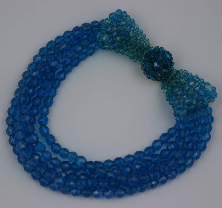 Coppola e Toppo Blue Crystal Bow Necklace In Excellent Condition For Sale In Riverdale, NY