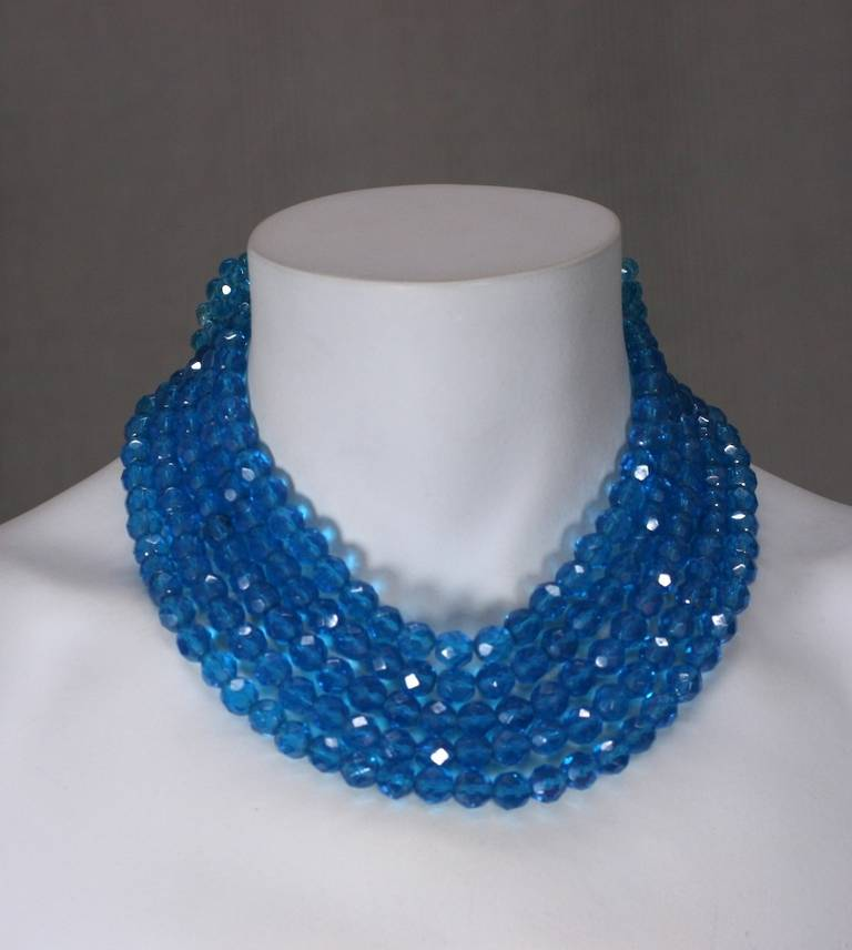 Coppola e Toppo Blue Crystal Bow Necklace For Sale 2
