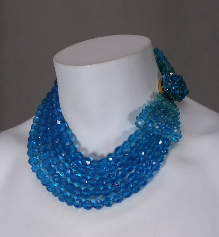 Coppola e Toppo turquoise ombre crystal graduated bead necklace with large woven bow motif. The bow is woven on top of the snap clasp closure. Striking in scale and color. Can be worn in many configurations. Italy 1950's.
