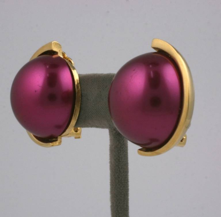 Lanvin Deep Rasberry Pearl Earclips 2