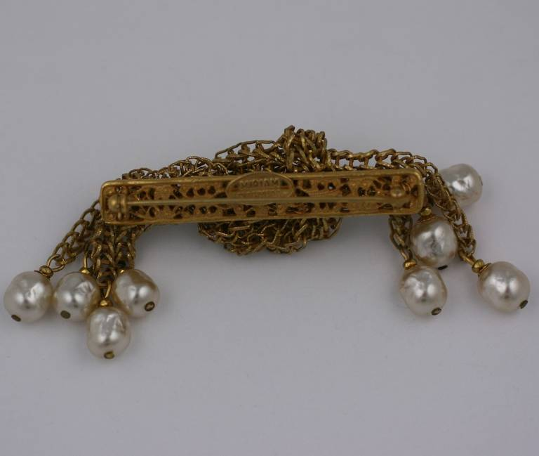 Miriam Haskell russian gilt fine box chain and signature baroque pearl knotted cascade brooch. Excellent condition.  2.75