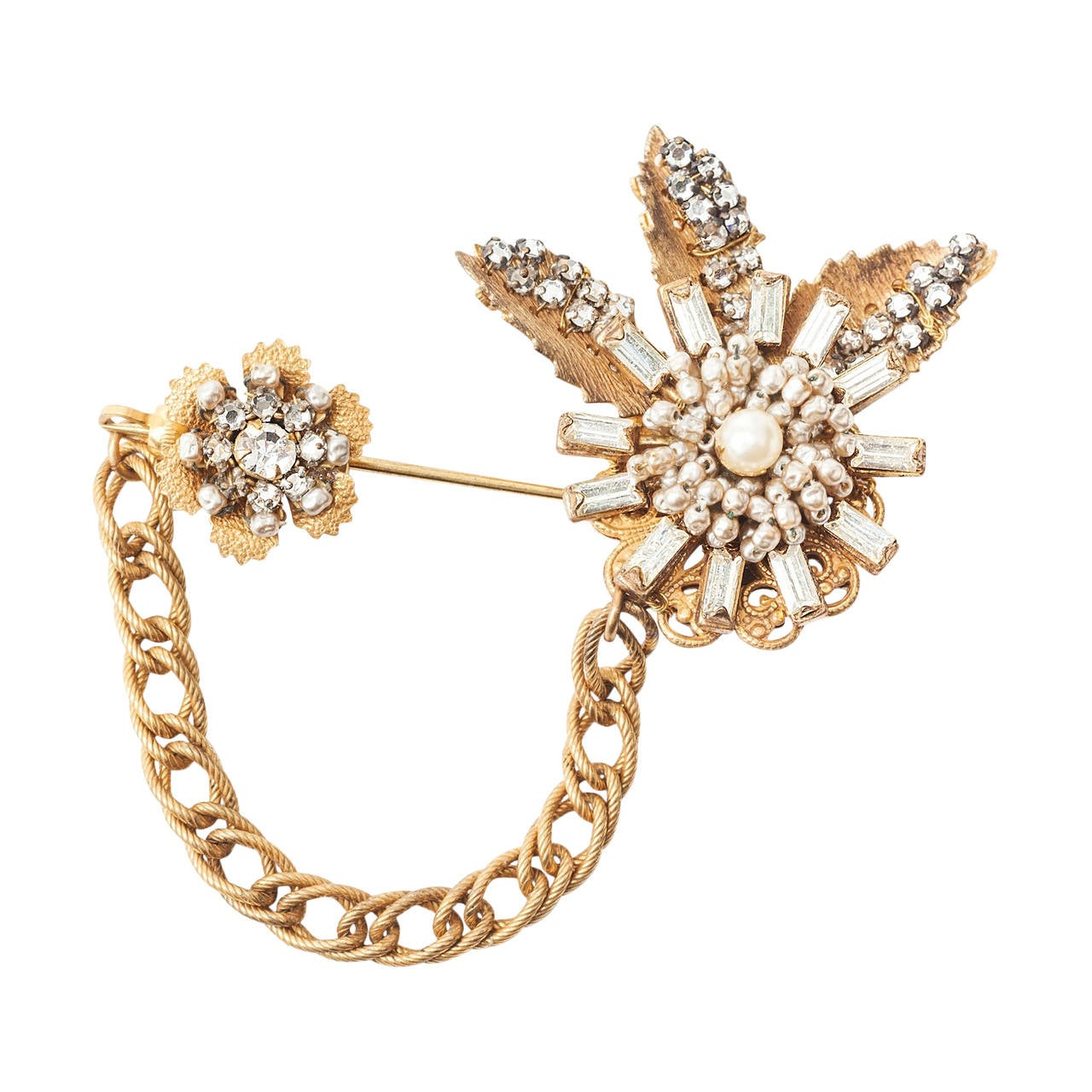 Miriam Haskell Diamante and Pearl Stickpin Brooch For Sale