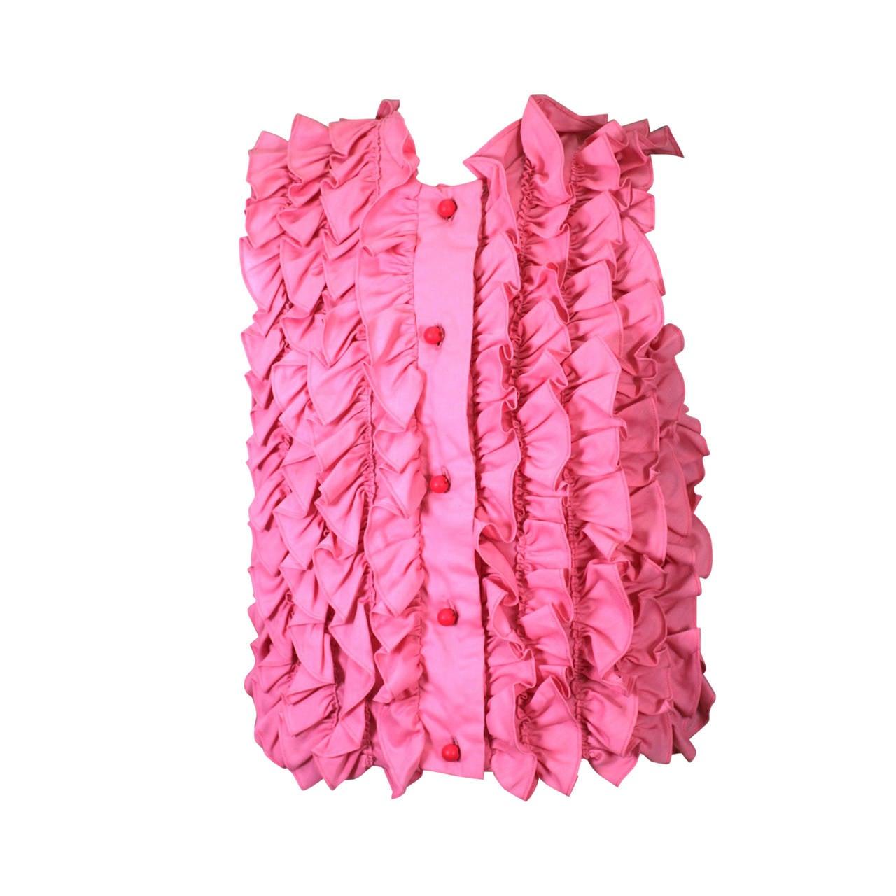 Pink Ruffled Sleeveless Blouse 1
