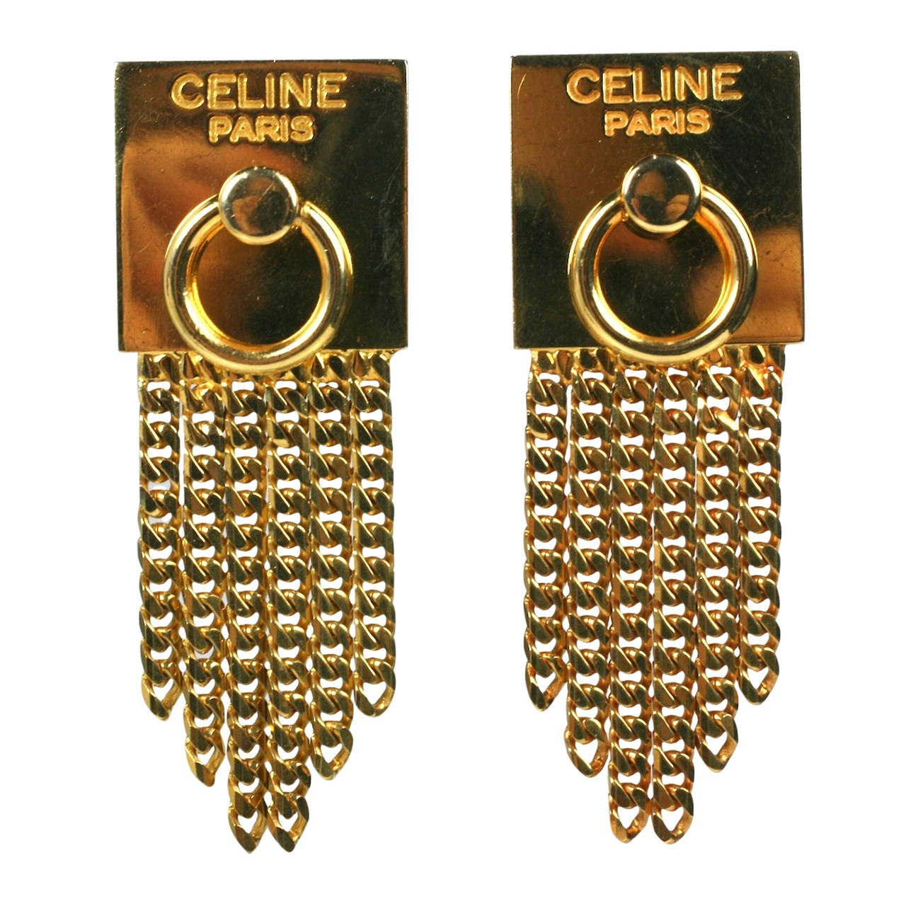 Celine Gold Chain Door Knocker Earrings For Sale