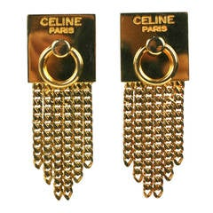 Celine Gold Chain Door Knocker Earrings
