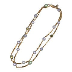 Chanel Sautoir with Lilac and Celadon Pearls