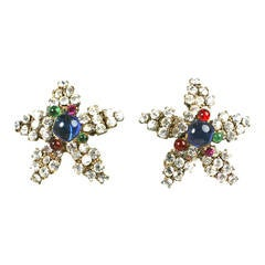 Gripoix Poured Glass Pave Star Earrings
