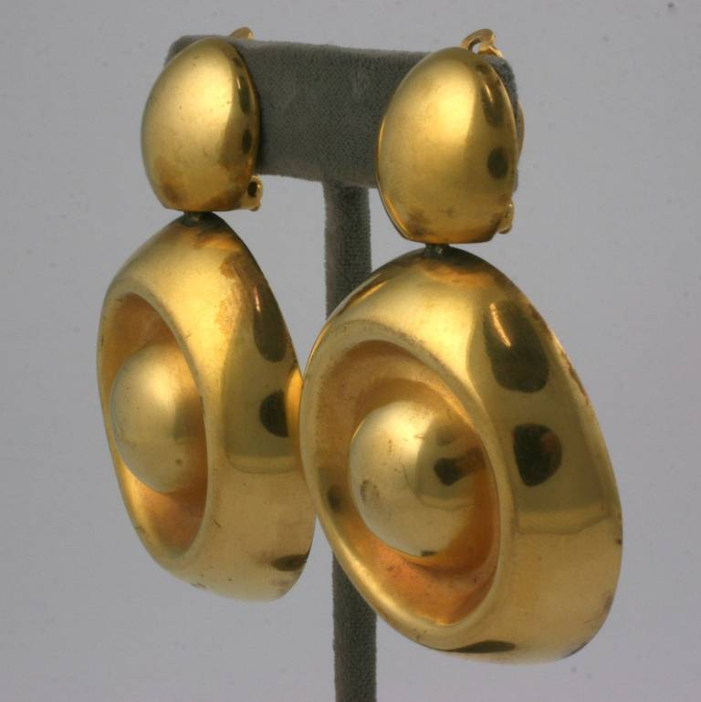 Large vermeil drop earrings by Steve Vaubel. Bold handmade design which is oversized but wearable because of hollow construction. Clip back fittings. 2000's USA.  Total length 2.75