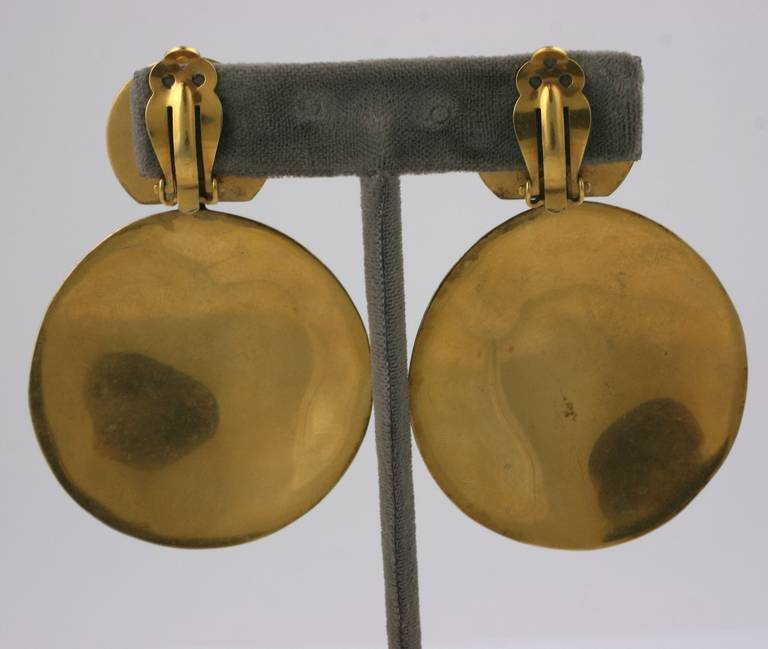 Steve Vaubel Gilt Earrings In Excellent Condition For Sale In Riverdale, NY
