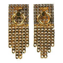 Celine Pave Gold Chain Door Knocker Earrings