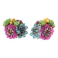 Miriam Haskell Multicolor Flowerhead Earclips