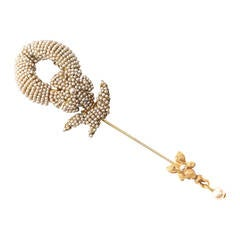 Miriam Haskell Micro Pearl Pave Stickpin Brooch