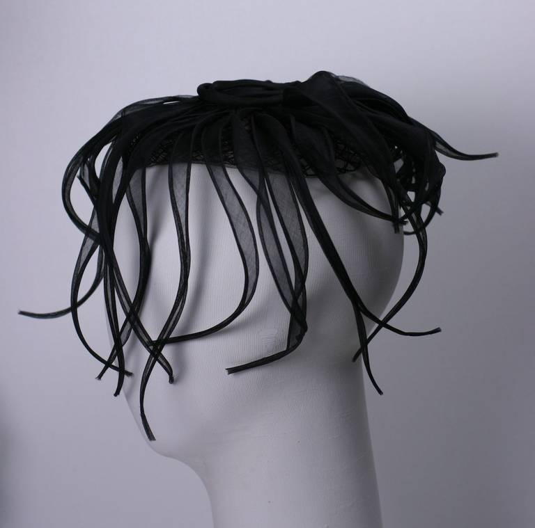 Hattie Carnegie's elegant evening cap with bias silk organza tendrils which fall from it. Horsehair Cap 7