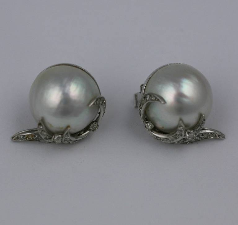 Attractive Mabe Pearl Earrings With Pave Diamond Swirl Accents Which Curl Up The