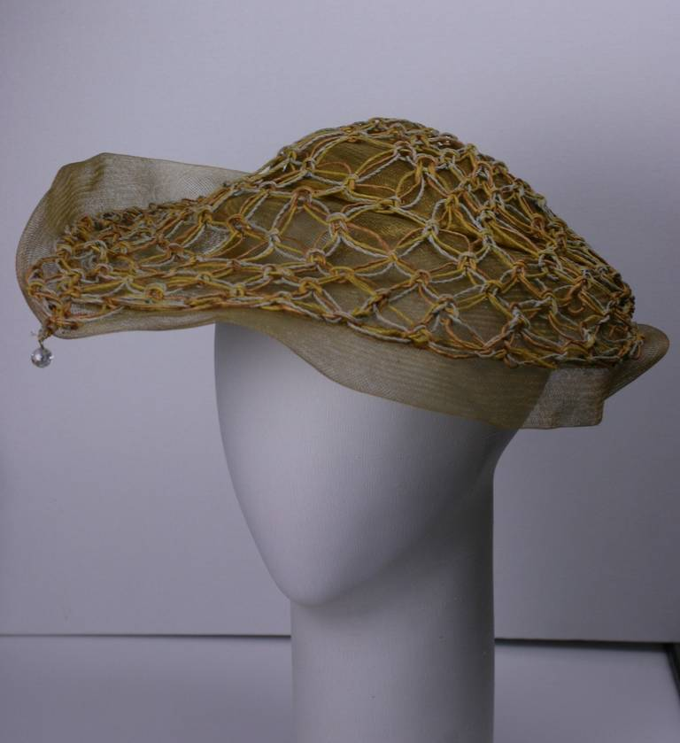 John Frederics New York Macrame Trim Hat In Excellent Condition For Sale In Riverdale, NY
