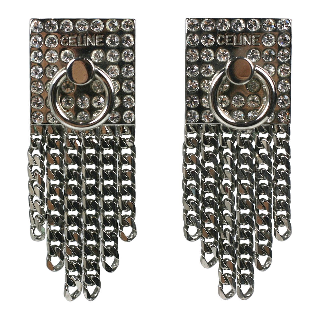 Celine Pave Silver Chain Earrings For Sale