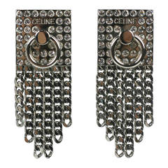 Celine Pave Silver Chain Earrings