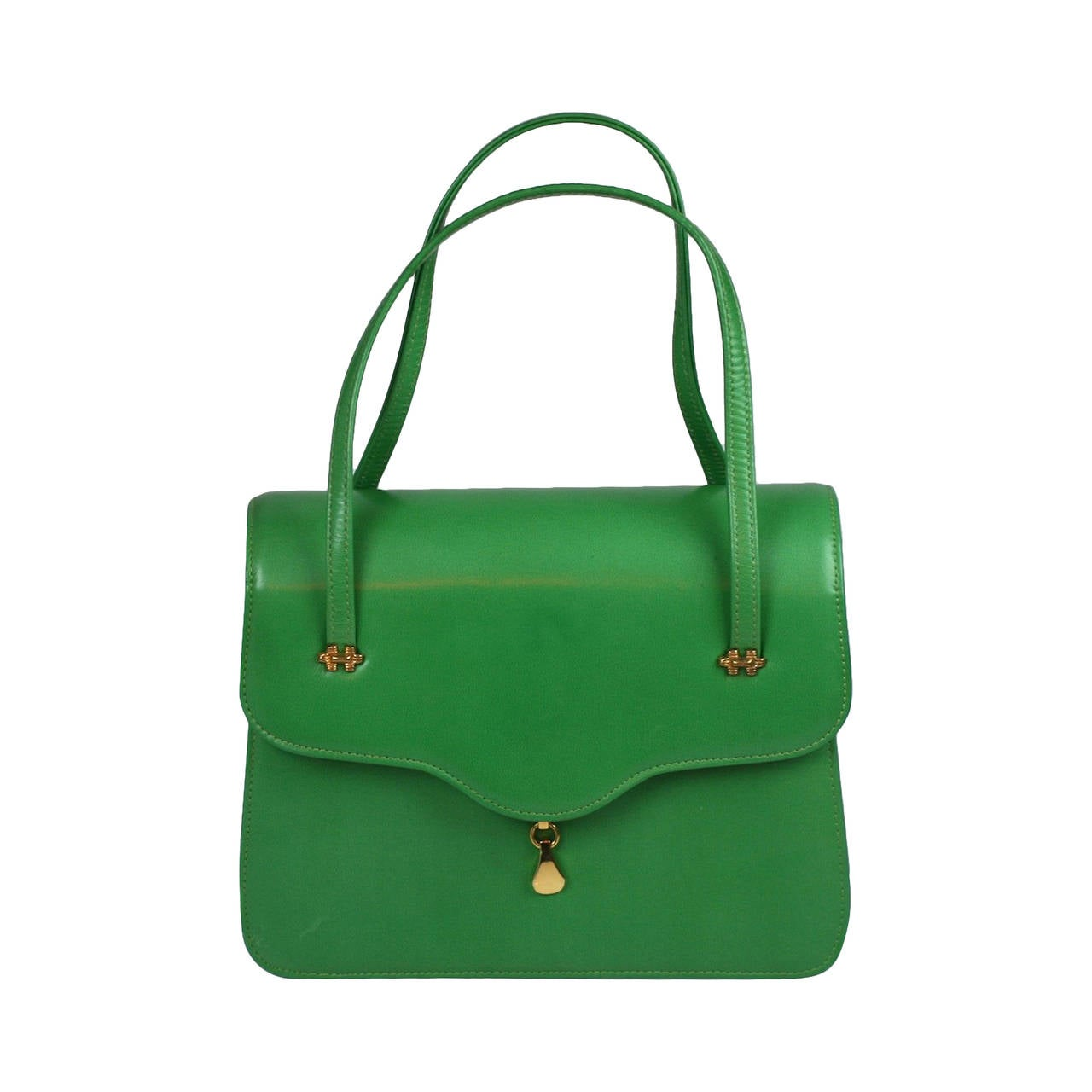 Charming Apple Green Leather Day Bag at 1stdibs