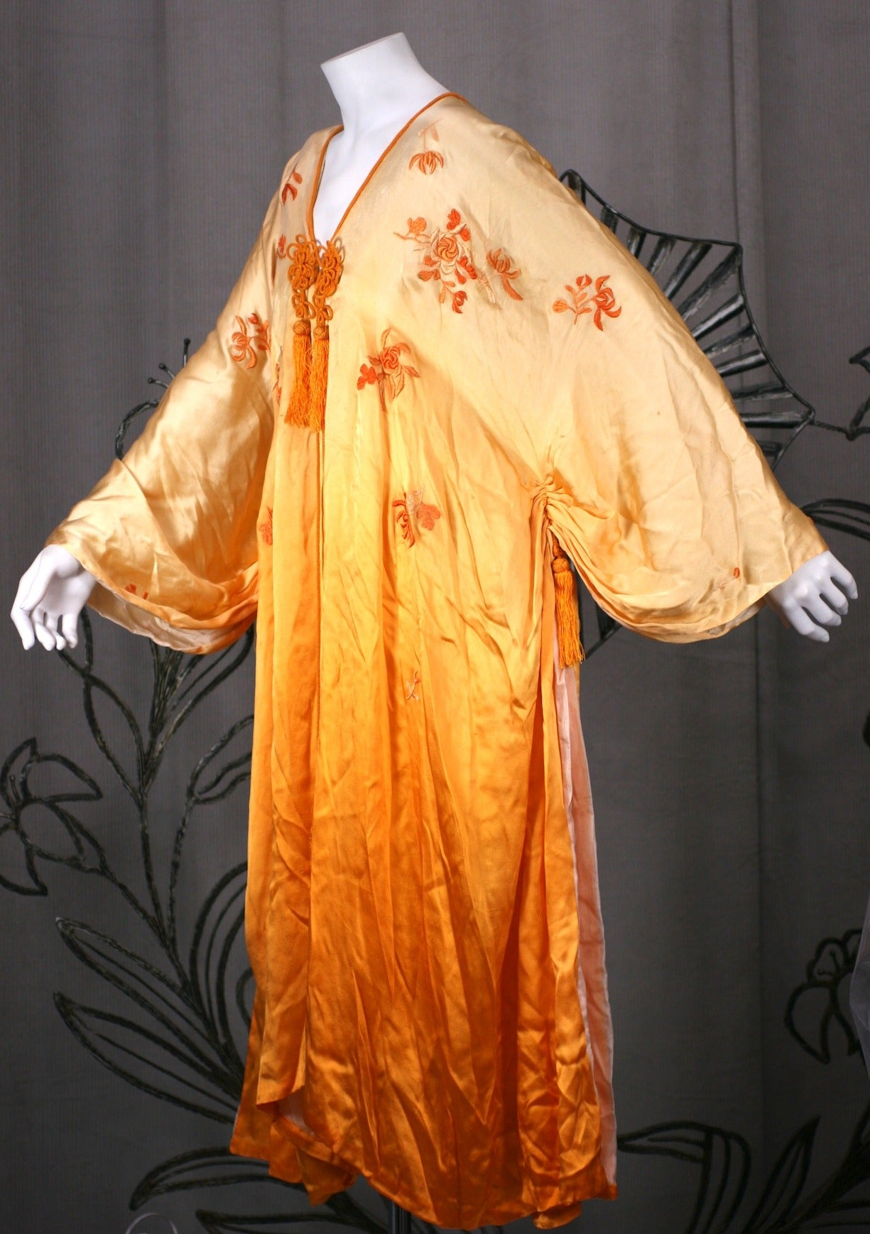 Ombre Silk, Embroidered Edwardian Dressing Gown at 1stdibs
