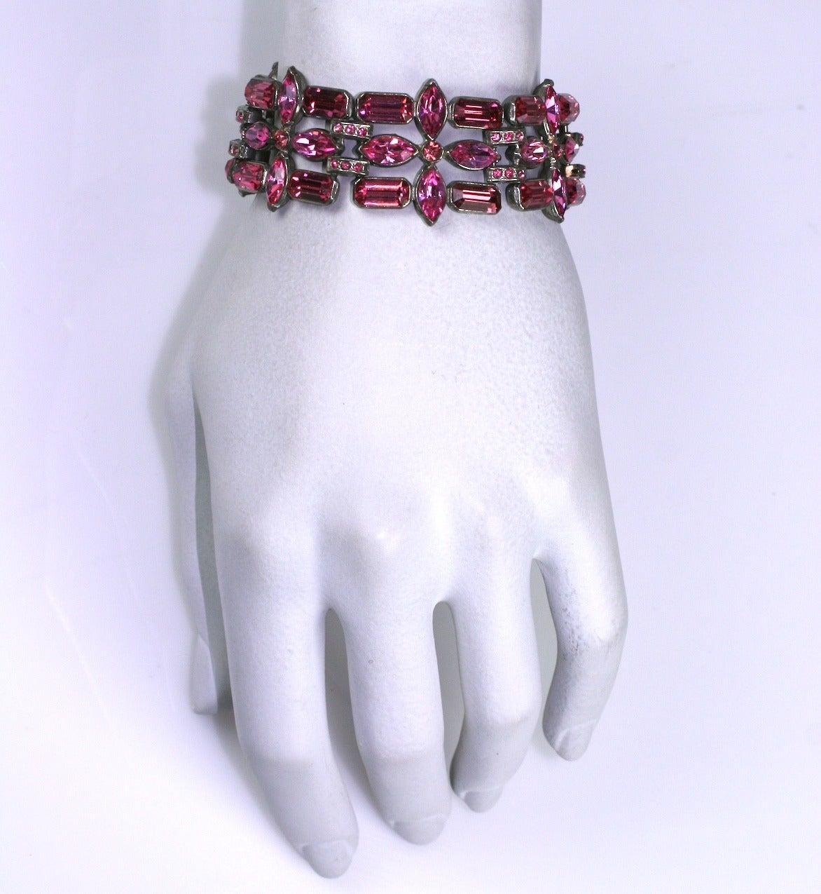 Eisenberg Fuschia Swarovski Crystal Bracelet 4