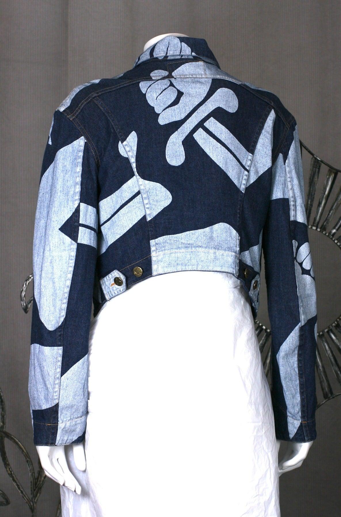 Black Vivienne Westwood Logo Print Denim Cropped Jacket For Sale