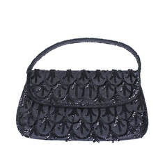 French Sequin Black Linen Bag