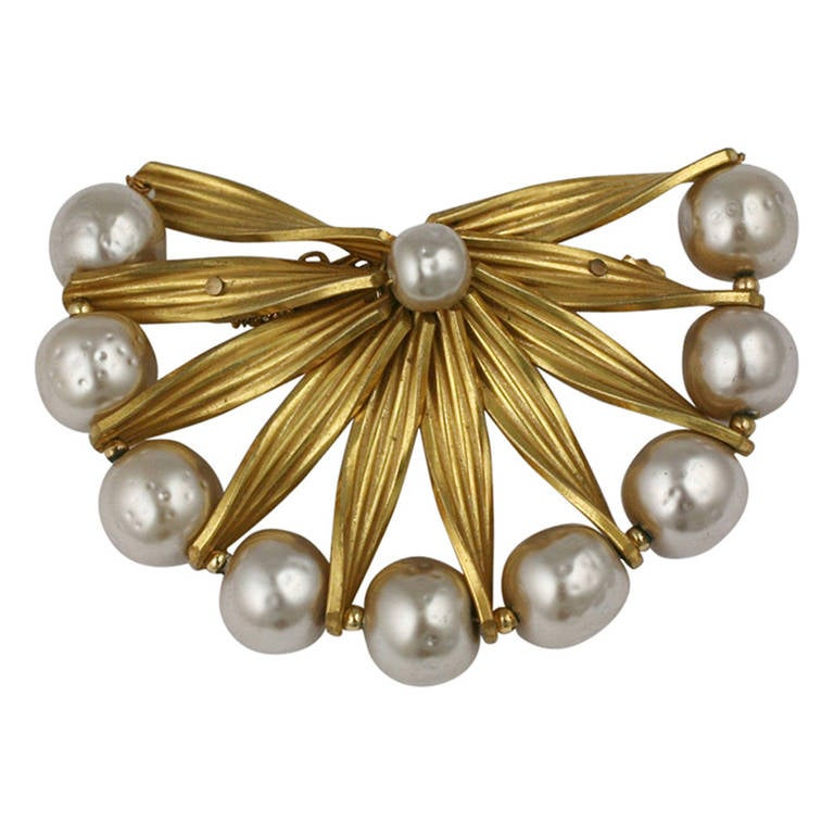 Miriam Haskell Pearl and Gold Brooch For Sale