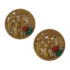 Miriam Haskell Chinoiserie  Brooches