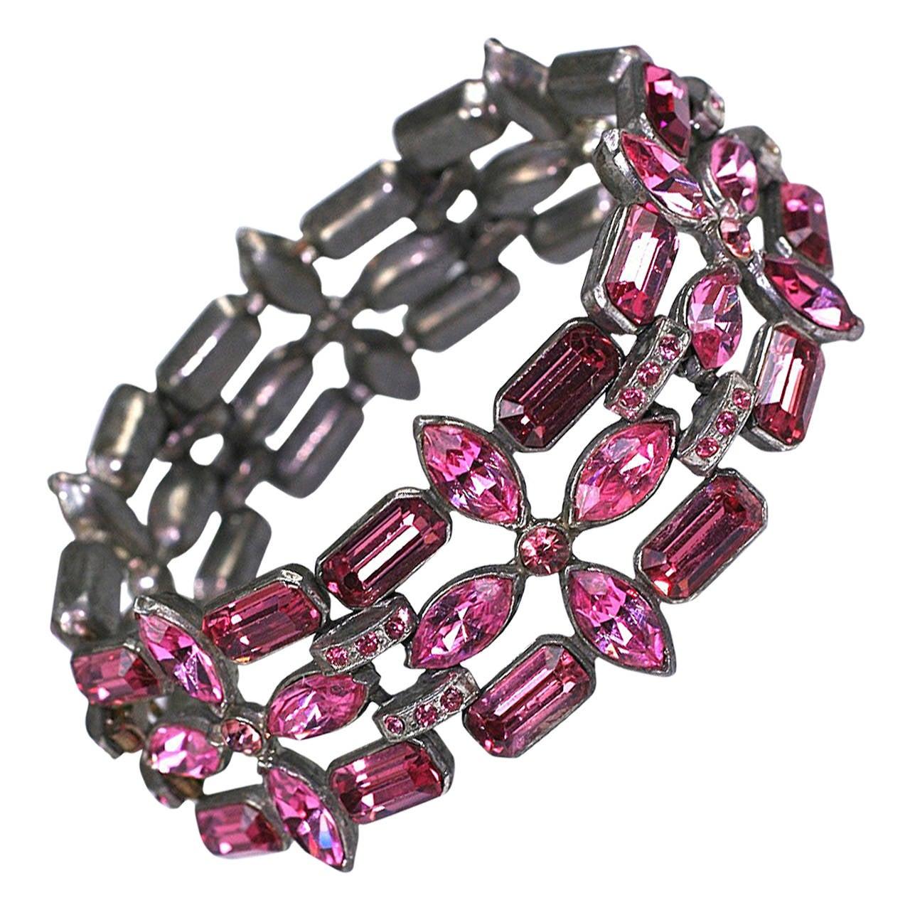 Eisenberg Fuschia Swarovski Crystal Bracelet 1