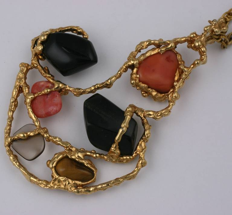 Oversized Brutalist Pendant with Semiprecious Stones For ...