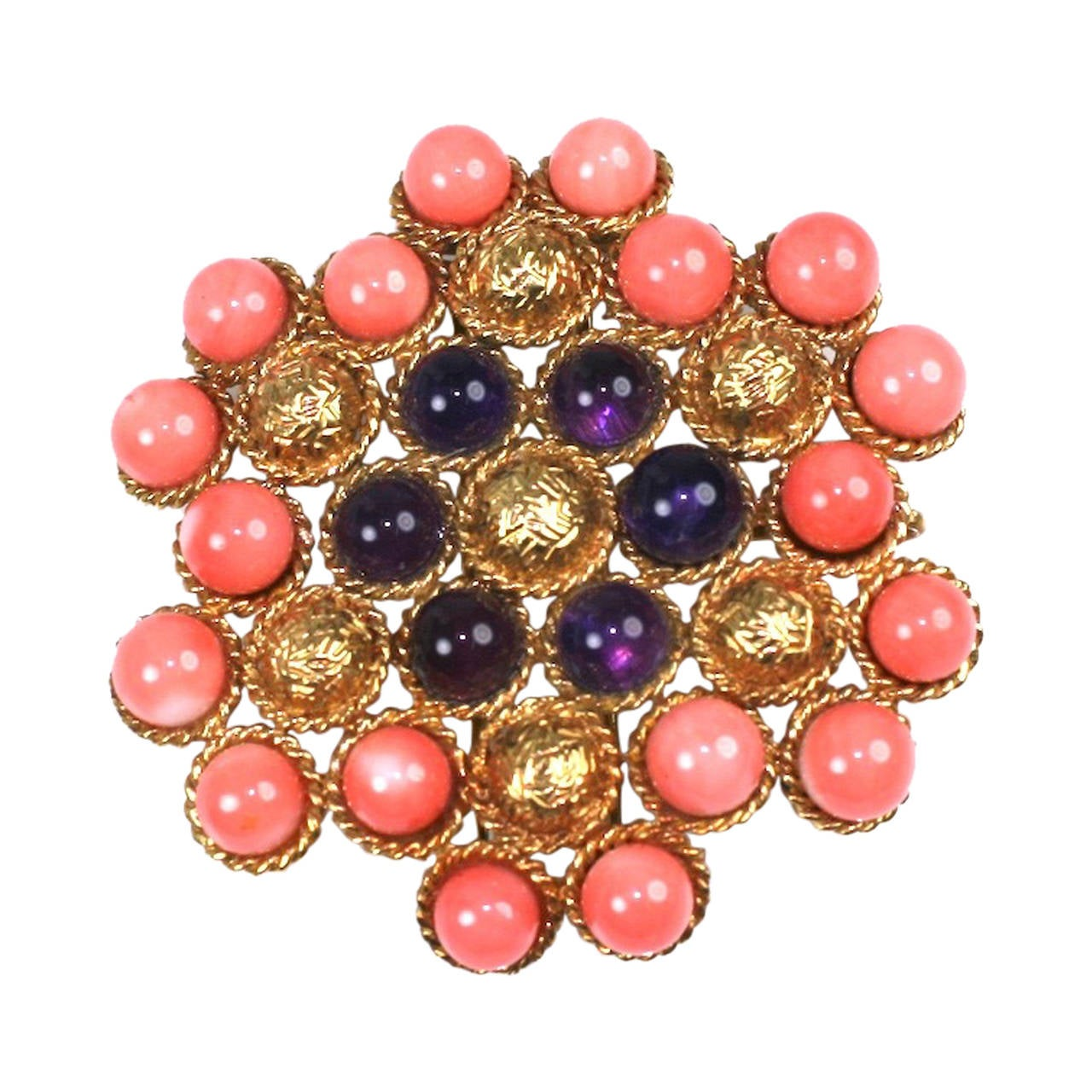 Coral and Amythest Textured Gold Clip For Sale