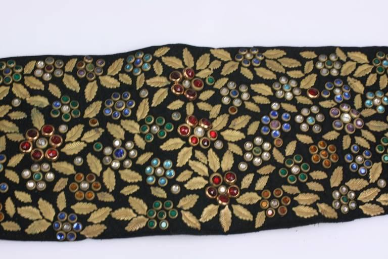 Black Jeweled and Leaf Embellished Suede Belt For Sale