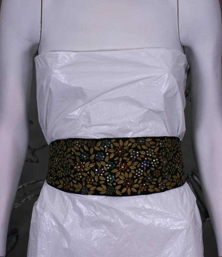 Jeweled and Leaf Embellished Suede Belt In Excellent Condition For Sale In Riverdale, NY