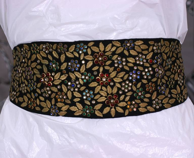 Women's Jeweled and Leaf Embellished Suede Belt For Sale