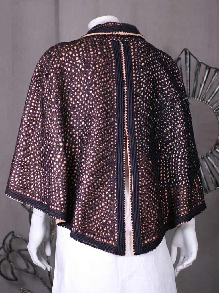 Soutache Embellished Capelet In Excellent Condition For Sale In Riverdale, NY