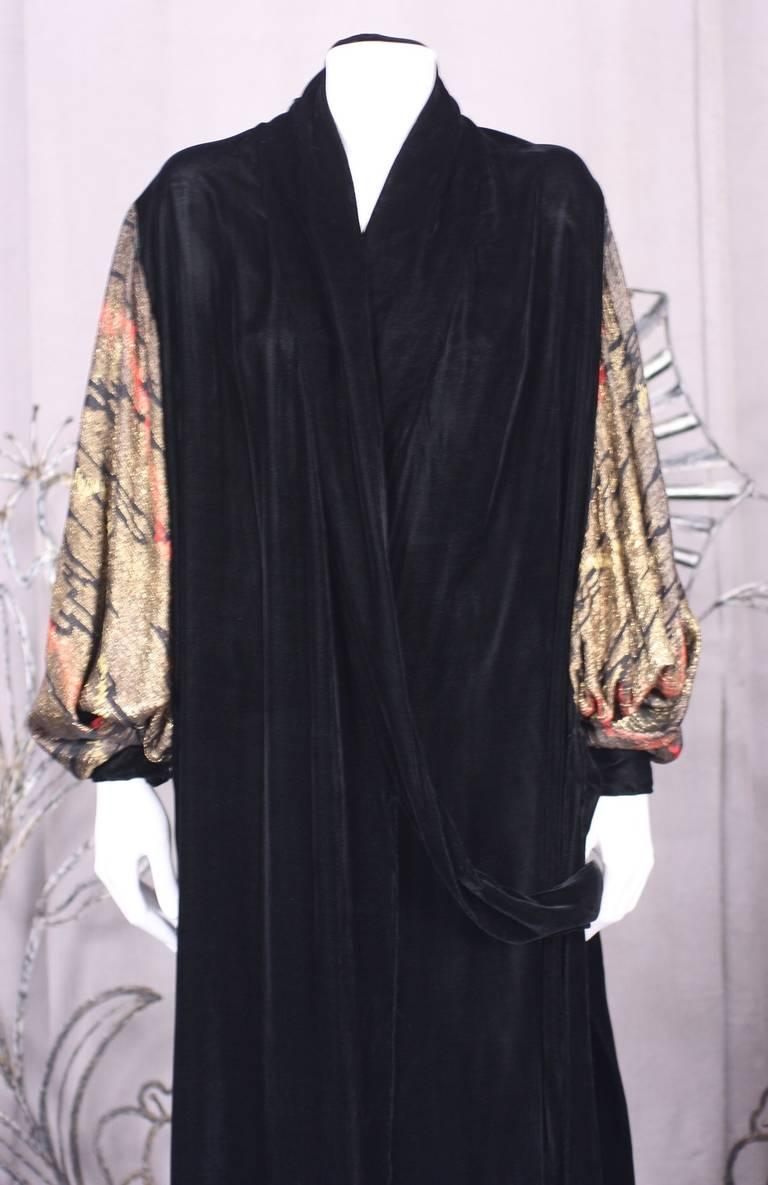 Black French Art Deco Lame Broche and Silk Velvet Opera Coat For Sale