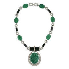 Joseph Mazer Faux Jade and Onyx Pendant