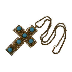 Miriam Haskell Turquoise Cross