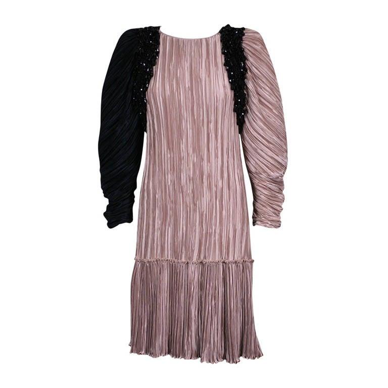 Mary McFadden Jet Encrusted Pleated Dress