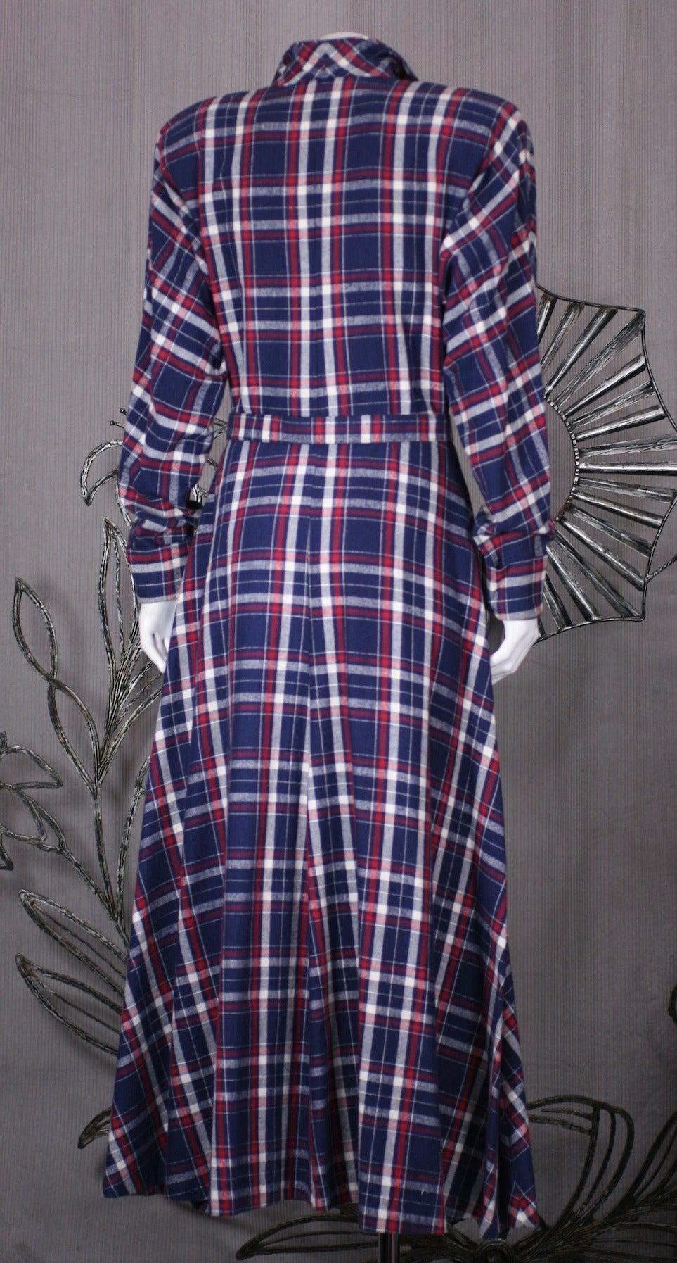 Women's Norma Kamali's Patriotic Flannel Shirtwaist