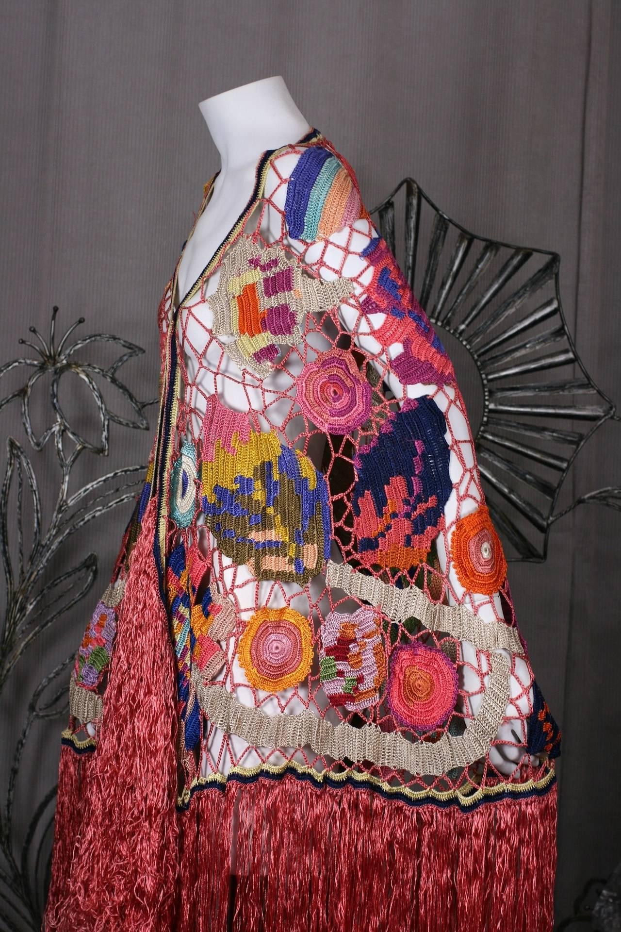 Amazing Austrian Secessionist Hand Crochet Shawl 5
